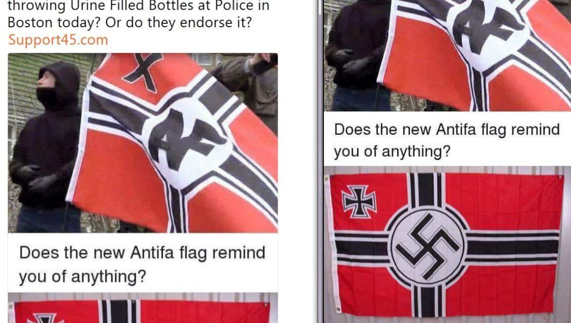antifa flag nazi flag